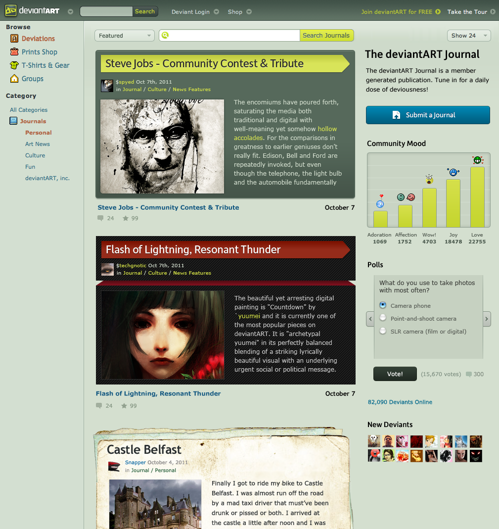 A preview of the new deviantART Journal Portal